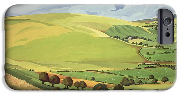 Hill iPhone Cases - Small Green Valley iPhone Case by Anna Teasdale