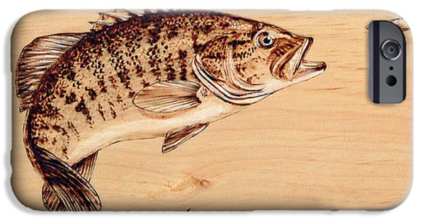 Sports Pyrography iPhone Cases - Small Mouth Bass iPhone Case by Ron Haist