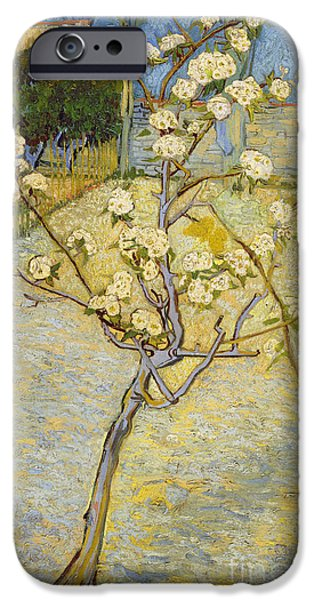 Pear Tree Paintings iPhone Cases - Small pear tree in blossom iPhone Case by Van Gogh