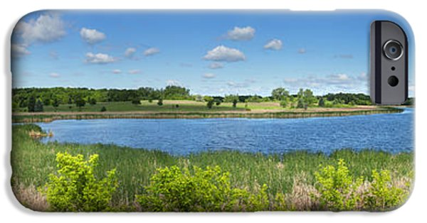 Interior Scene iPhone Cases - Small Pond under Blue Cloud Sky Panorama iPhone Case by Donald  Erickson