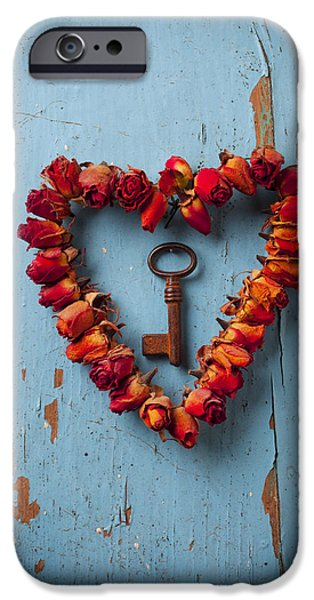 Still Life Photographs iPhone Cases - Small rose heart wreath with key iPhone Case by Garry Gay