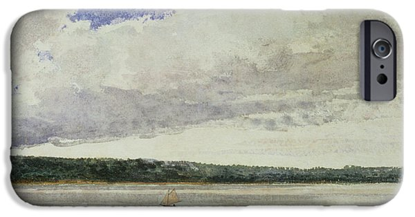 Small iPhone Cases - Small Sloop on Saco Bay iPhone Case by Winslow Homer