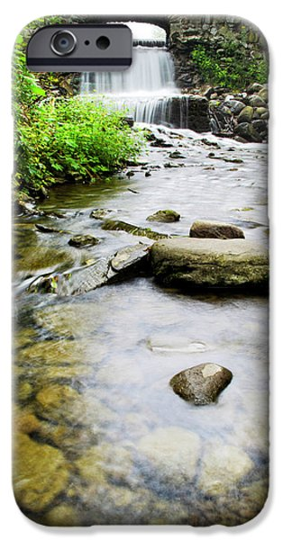 Nature Scene iPhone Cases - Small Waterfall In Country Creek iPhone Case by Christina Rollo