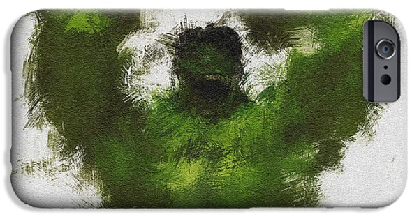 Character Portraits Digital Art iPhone Cases - Smashing Green iPhone Case by Miranda Sether