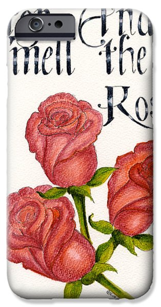Flora Drawings iPhone Cases - Smell the Roses iPhone Case by Eva Ason
