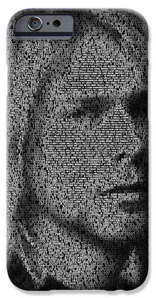 Montage Drawings iPhone Cases - Smells Like Teen Spirit Lyrics Mosaic iPhone Case by Paul Van Scott