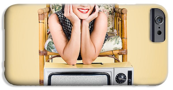 Electrical iPhone Cases - Smiling beautiful woman at rest on old television iPhone Case by Ryan Jorgensen