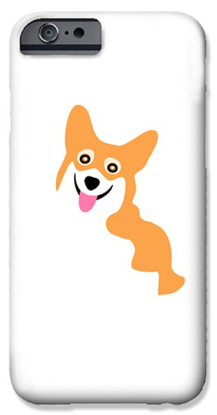 Dogs iPhone Cases - Smiling Corgi Pup iPhone Case by Antique Images