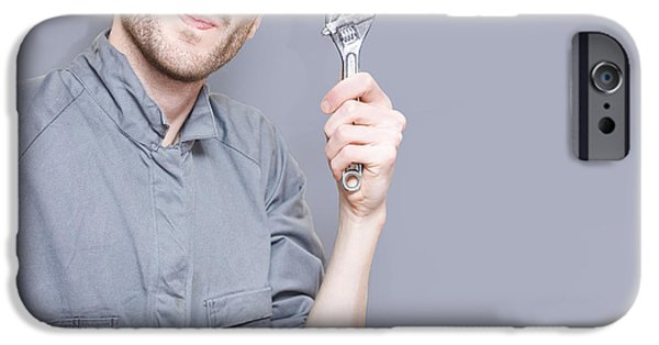 Work Tool iPhone Cases - Smiling Mechanical Engineer Worker Holding Wrench iPhone Case by Ryan Jorgensen