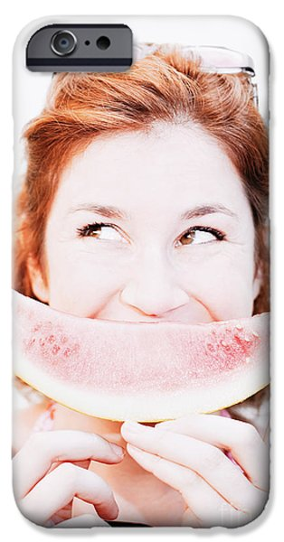 Watermelon iPhone Cases - Smiling Summer Snack iPhone Case by Ryan Jorgensen