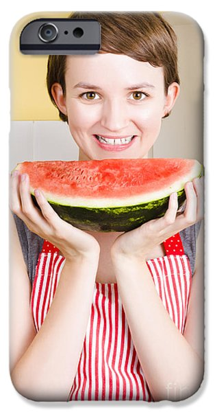 Youthful Photographs iPhone Cases - Smiling young woman eating fresh fruit watermelon iPhone Case by Ryan Jorgensen