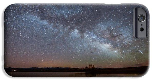 Snowy Night iPhone Cases - Smith Lake Milkyway Reflections iPhone Case by Benjamin Reed