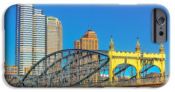 Business Photographs iPhone Cases - Smithfield Street Bridge iPhone Case by Maria Coulson