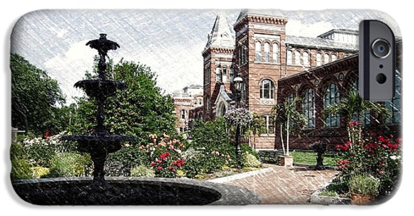 Smithsonian iPhone Cases - Smithsonian Castle Gardens Sketch iPhone Case by Gary Conner
