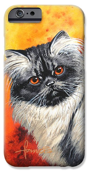 Red Eye iPhone Cases - Smoke Longhair iPhone Case by John Francis