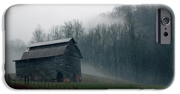 Old Barns iPhone Cases - Smokey Mountains Barn iPhone Case by Kathy Schumann