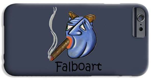 Smoking iPhone Cases - Smoking Blue Man iPhone Case by Anthony Falbo