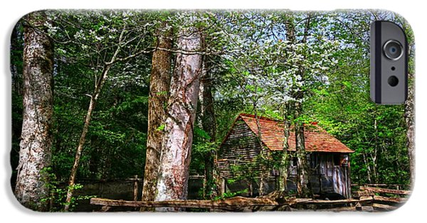 Grist Mill iPhone Cases - Smoky Mountain Grist Mill Among The Dogwoods iPhone Case by Carol R Montoya