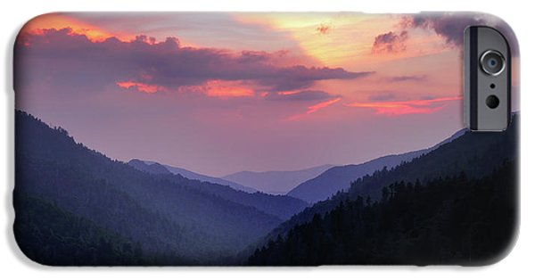 Morton iPhone Cases - Smoky Mountain Sunset from Mortons Overlook iPhone Case by Thomas Schoeller