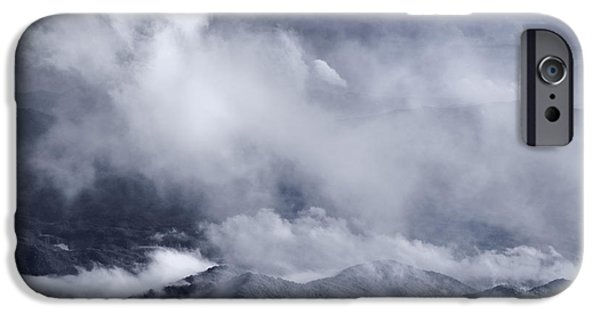 Smoky iPhone Cases - Smoky Mountain Vista In B and W iPhone Case by Steve Gadomski