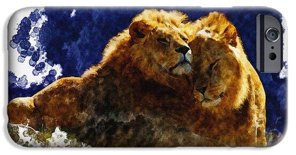 Tree Art Print iPhone Cases - Smooching lions iPhone Case by Don Kuing