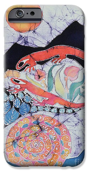Spring Tapestries - Textiles iPhone Cases - Snail with Red Efts iPhone Case by Carol  Law Conklin
