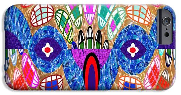 Modernart iPhone Cases - Snake Head Abstract Spirals Graphic Art iPhone Case by Navin Joshi