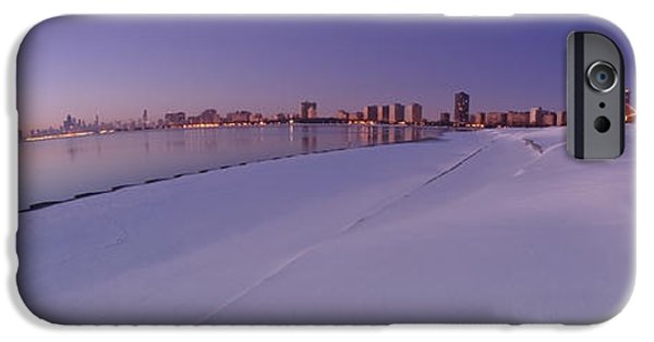 Snow Drifts Photographs iPhone Cases - Snow and Chicago skyline Panoramic iPhone Case by Sven Brogren