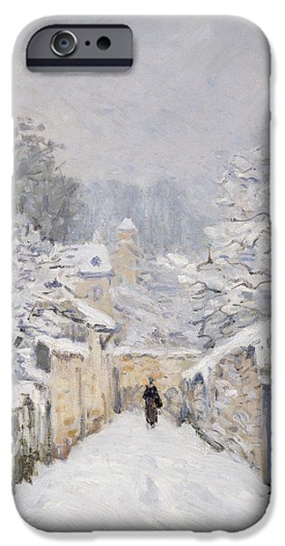Snow Landscape iPhone Cases - Snow at Louveciennes iPhone Case by Alfred Sisley