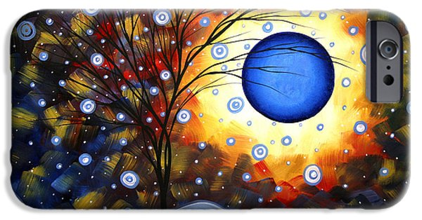Recently Sold -  - Red Abstract iPhone Cases - Snow Burst Cirlce of Life Painting MADART iPhone Case by Megan Duncanson