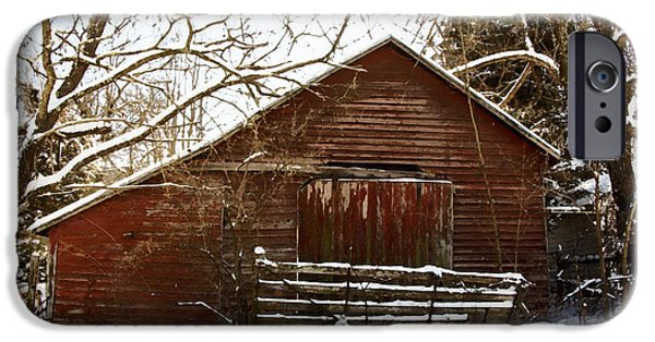 The Horse iPhone Cases - Snow covered barn Watercolor iPhone Case by Shannon Louder