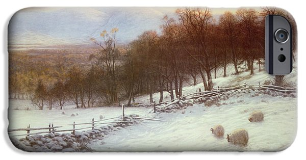 Snow Landscape iPhone Cases - Snow Covered Fields with Sheep iPhone Case by Joseph Farquharson