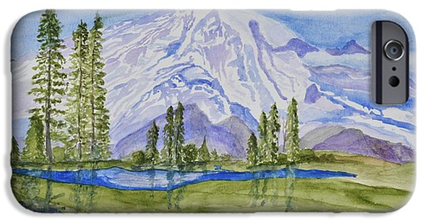 Snowscape Paintings iPhone Cases - Snow Covered Mountain iPhone Case by Linda Brody