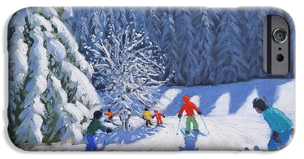 Snow-covered Landscape Paintings iPhone Cases - Snow Covered Trees iPhone Case by Andrew Macara
