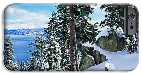 Snowy Day iPhone Cases - Snow Covered Trees On Mountainside iPhone Case by Panoramic Images