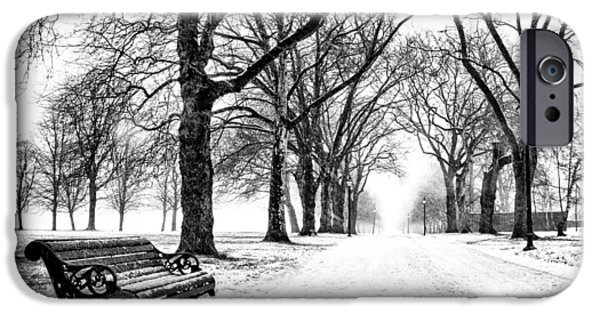 Black And White Reliefs iPhone Cases - Snow Day iPhone Case by Dominic Piperata