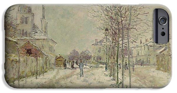 Winter Scenes iPhone Cases - Snow Effect iPhone Case by Claude Monet