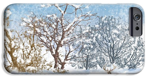 Snow Scene Digital iPhone Cases - Snow Flurry iPhone Case by Arline Wagner