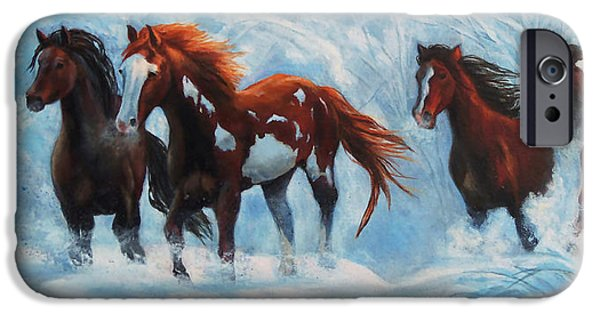 Christmas Greeting iPhone Cases - Snow Horses iPhone Case by Karen Kennedy Chatham
