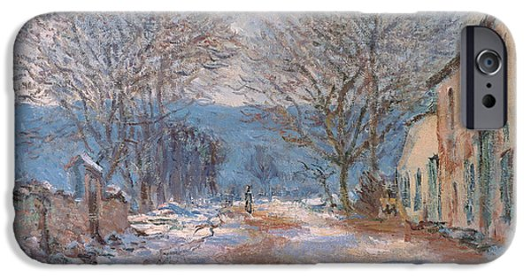 Frigid iPhone Cases - Snow in Limetz   Effet de neige a Limetz iPhone Case by Claude Monet