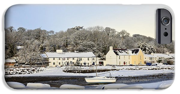 Snowy Day iPhone Cases - Snow in Red Wharf Bay Wales iPhone Case by Pearl Bucknall