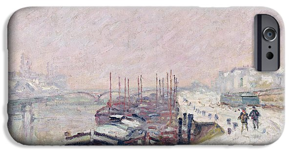 Snow Landscape iPhone Cases - Snow in Rouen iPhone Case by Jean Baptiste Armand Guillaumin