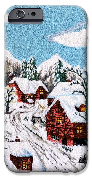 Snow Tapestries - Textiles iPhone Cases - Snow in village iPhone Case by Mimoza Xhaferi