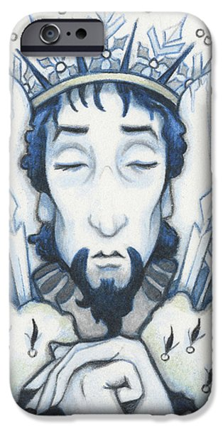 Aceo iPhone Cases - Snow King Slumbers iPhone Case by Amy S Turner
