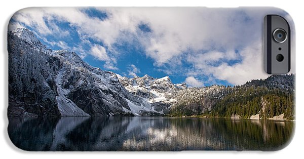 Snow iPhone Cases - Snow Lake Vista iPhone Case by Mike Reid