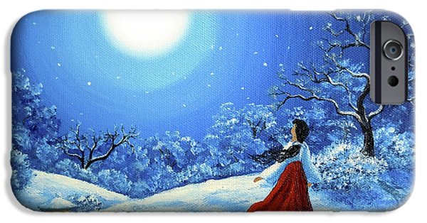 Buddhism Paintings iPhone Cases - Snow Like Stars iPhone Case by Laura Iverson