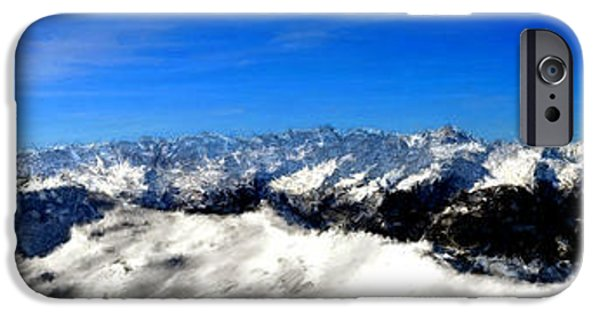 Snow iPhone Cases - Snow Mountain Pano Finished iPhone Case by Bruce Nutting