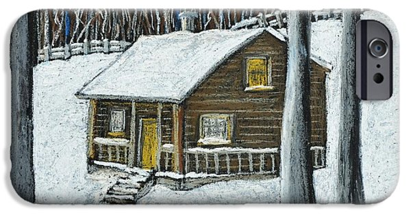Snow Pastels iPhone Cases - Snow on Cabin iPhone Case by Reb Frost