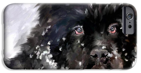 Dogs In Snow. Paintings iPhone Cases - Snow Play iPhone Case by Jai Johnson