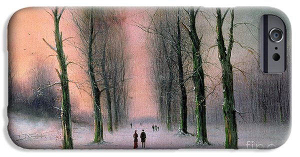 Snow Scene iPhone Cases - Snow Scene Wanstead Park   iPhone Case by Nils Hans Christiansen